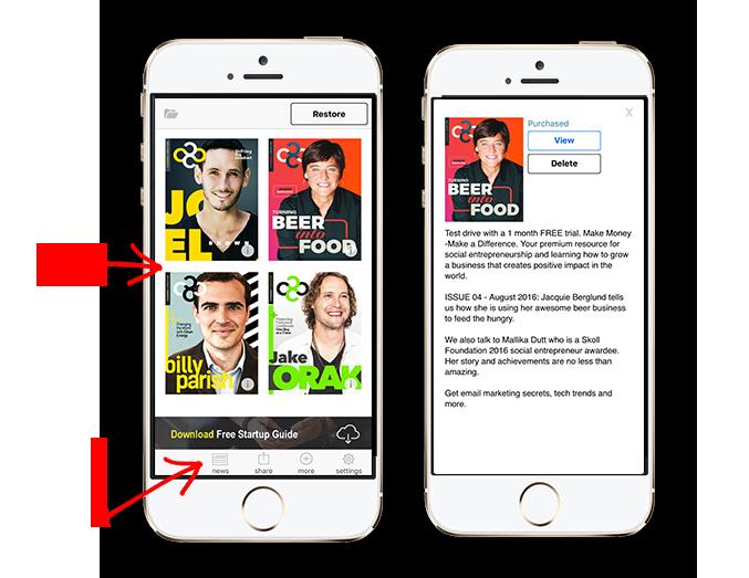 Thumbnails and extras (left), Magazine Description (right)