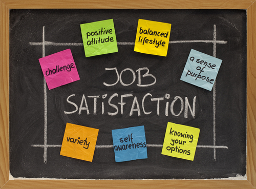 ingredients of job satisfaction concept - white chalk handwriting and color sticky notes on blackboard