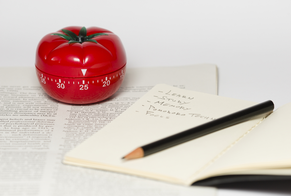 Pomodoro (tomato) technique is a study method that helps avoiding procrastination using a kitchen timer